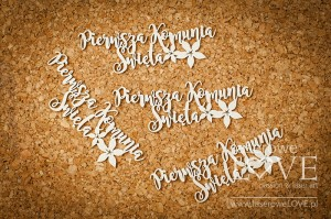 Chipboard - First Holy Communion inscription - Flower
