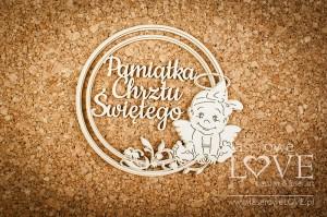 Tekturka - Ramka okrągła - Pamiątka Chrztu - aniołek dziewczynka - Emma & Billy