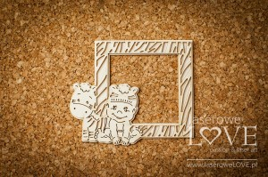 Tekturka - Chłopczyk z zebrą ramka w paski - Emma & Billy