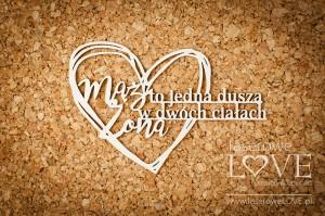 Tekturka - Napis Mąż i Żona to jedna dusza - Simple Wedding