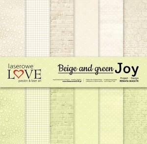 Zestaw papierów - Beige and green JOY - 30,5 cm x 30,5 cm - Laserowe LOVE