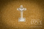 Chipboard - Cross with a pigeon 3D - Holy & White
