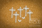 Chipboard - Crosses with pigeons, 5 items - Holy & White