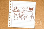 Rubber stamp - Deer and toadstool - Forest Camp