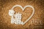 Chipboard - Heart frame with small boy and giraffe - Emma & Billy