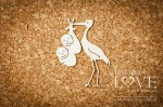 .Chipboard - Stork carrying twins 4 items - Emma & Billy