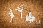 Chipboard - Figure skater girls and skates - Shabby Winter
