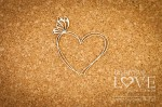 Chipboard - Heart frame with butterfly - Soufre