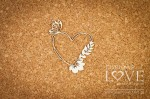 Chipboard - Heart frame with butterfly and flower - Soufre