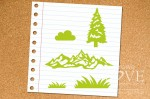 Rubber stamp - Mountains and Christmas tree - Forest Camp