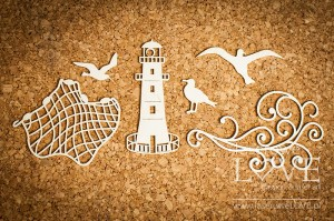 Chipboard - Di Mare lighthouse and fishing net