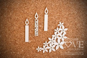Chipboard - Candles - Flower