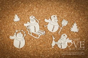 Chipboard - Four snowmen - Vintage Christmas