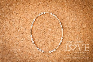 Chipboard  - Oval frame with leaves - Soufre