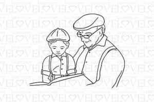Rubber stamp - Grandfather with grandson - Be with Me