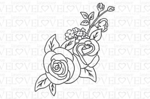 Rubber stamp - Composition with roses - Be with Me