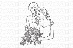 Rubber stamp - Wedding couple - Lily Flower
