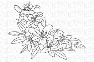 Rubber stamp - Lily compostion - Lily Flower