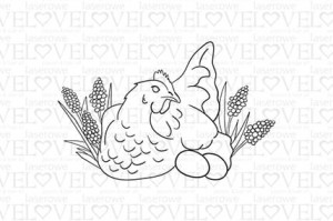 Rubber stamp - Chicken in grape hyacinths - Yellow Spring