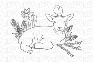 Rubber stamp - Lamb and chicken - Yellow Spring