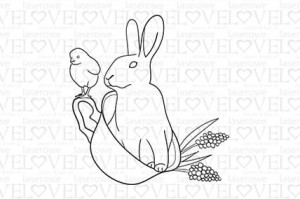 Rubber stamp - Rabbit in cup - Yellow Spring