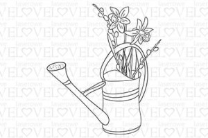 Rubber stamp - Daffodils in watering can - Yellow Spring