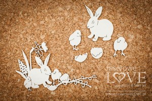 .Chipboard - Rabbit and chickens - Yellow Spring