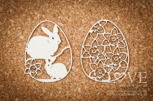 Chipboard - Easter egg with rabbits and daffodils - Yellow Spring