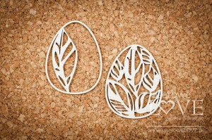 .Chipboard - Easter egg with leaves - Yellow Spring