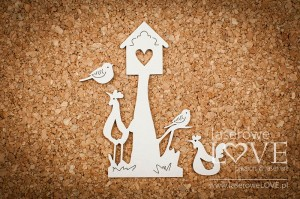 .Chipboard - Birdhouse with birds - Yellow Spring