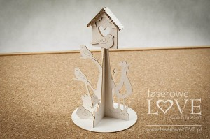 Chipboard - Big birdhouse with birds 3D - Yellow Spring