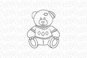 Rubber stamp - Teddy bear with a patch - Vintage Baby