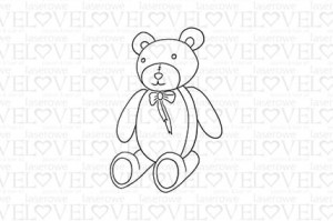 Rubber stamp - Teddy bear with a bow - Vintage Baby