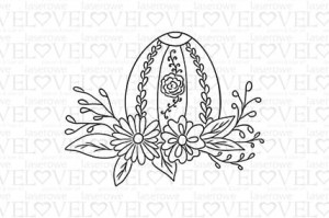 Rubber stamp - Easter egg with flowers - Easter Bunny