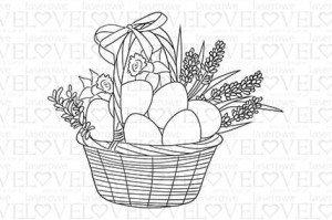 Rubber stamp - Basket with easter eggs - Easter Bunny