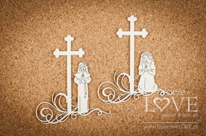 .Chipboard - First communion, girl under the cross - White and Innocent