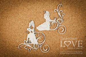.Chipboard - Girls with ornaments - White and Innocent