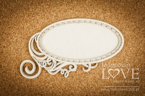 .Chipboard - Oval frame - White and Innocent
