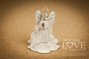 .Chipboard - Guardian angel with a boy, 3D - White and Innocent