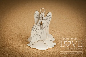 .Chipboard - Guardian angel with a girl, 3D - White and Innocent