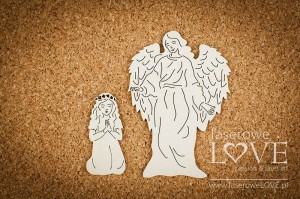 .Chipboard - Guardian angel with girl - White and Innocent