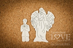 .Chipboard - Guardian angel with boy - White and Innocent
