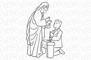 Rubber stamp - First communion boy with Jesus - White and Innocent
