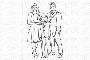 Rubber stamp - Boy with parents - White and Innocent
