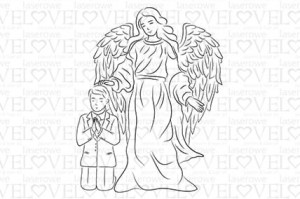 Rubber stamp - Guardian angel with boy - White and Innocent