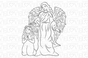 Rubber stamp - Guardian angel with girl - White and Innocent