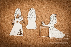 .Chipboard - First communion girls - White and Innocent