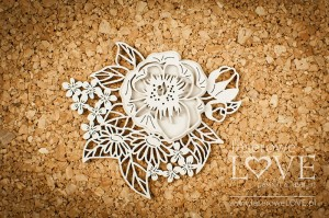 .Chipboard - Composition with peonies -  Coral, Navy Romance