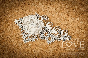 Chipboard - Composition with peonies -  Coral, Navy Romance