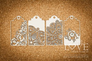 Chipboard - Big Tags -  Coral, Navy Romance